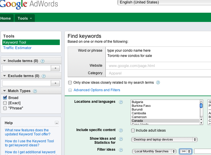 SEO keyword tool condo marketing