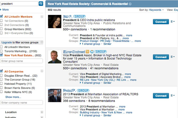 search for top prospects on LinkedIn